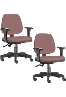 Kit 02 Cadeiras Giratórias Lyam Decor Job Suede Rosê