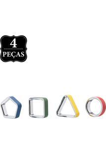 Kit Porta-Guardanapos Umbra Geo Napkin Rings Asst 4 Pçs Multicolorido