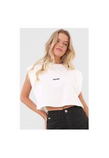 Camiseta Cropped Colcci Logo Off-White