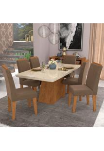Conjunto De Mesa Com 6 Cadeiras Para Sala De Jantar 180X90 C/ Moldura Helen/Milena-Cimol - Savana / Off White / Chocolate