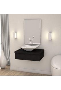 Conjunto Para Banheiro Gabinete Com Cuba Folha L38 600W Metrópole Compace Preto Onix