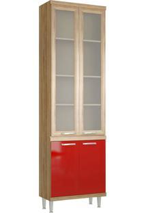 Paneleiro 4 Portas 700Mm Sicília Com Vidro Argila E Vermelho-Scarlet Multimóveis