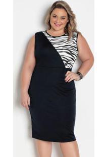 Vestido Preto E Zebra Com Recortes Plus Size