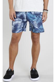 Short Masculino Estampado De Folhagem Com Bolsos Azul Marinho