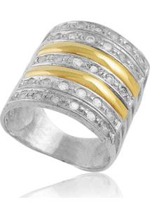 Anel Prata Mil Prata C/ Filete De Ouro E Zircônia Prata - Kanui