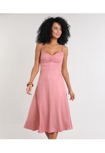 Vestido Feminino Midi Com Franzido Decote V Rosê