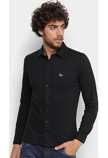 Camisa Social Polo Rg 518 Manga Longa Masculina - Masculino-Preto