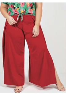 Calça Vermelha Envelope Pantalona Plus Size