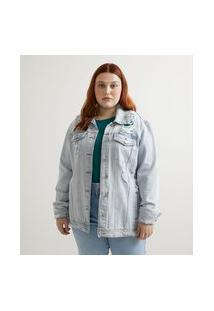 Jaqueta Jeans Alongada Com Puídos Curve & Plus Size