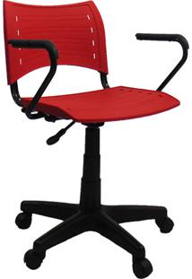 Cadeira Evidence Giratória Com Braço Vermelha - At.Home