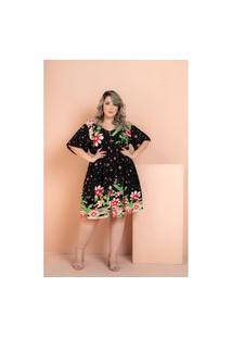Vestido Rayon Poplin Flores Black Plus Size 52 Maria Rosa Plus Vestido Preto