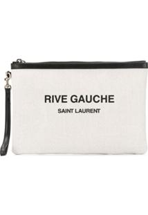 Saint Laurent Clutch Rive Gauche Com Estampa - Branco