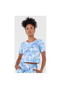 Camiseta Cropped Costa Rica Tie Dye Azul