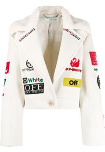 Off-White Jaqueta Cropped Com Logo - Neutro