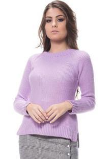 Blusa Logan Tricot Textura Clássica Ponto Arroz Feminina - Feminino-Lilás