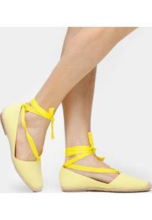Alpargata Petite Jolie Amarrações - Feminino-Amarelo