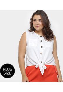 Blusa Regata Heli Amarração Bolsos Feminina - Feminino-Branco