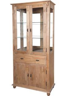 Cristaleira 4 Portas, 1 Gav E Fundo C/ Espelho (Pés Luiz Xv) Ref 50313E - Cor Cera Clara