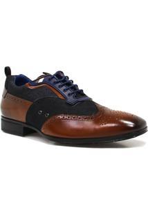Sapato Zariff Shoes Social Brogue Couro - Masculino-Marrom
