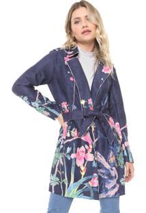 Casaco Sobretudo Lily Fashion Suede Estampado Azul