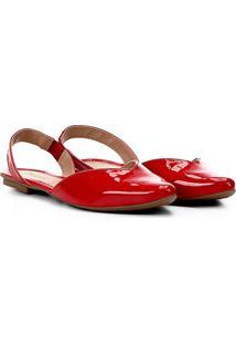 Sapatilha Somoda Chanel Recorte Feminina - Feminino-Vermelho