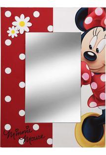 Espelho Minnie® - Espelhado & Vermelho - 40X30X1Cm