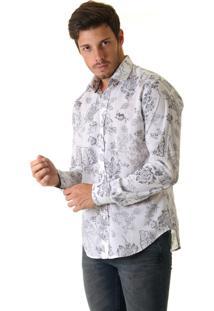 Camisa Opera Rock Voil Com Estampa Floral Off White