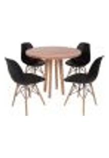 Conjunto Mesa De Jantar Em Madeira 90Cm Com Base Vértice + 4 Cadeiras Eiffel - Preto