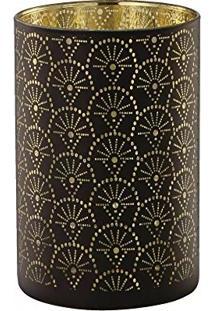 Porta Velas Em Vidro Bangui 6241 Preto/Dourado Mart