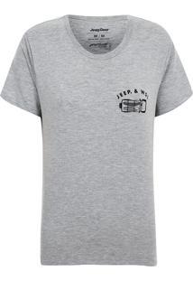 Camiseta Especial Feminina Jeep E Wsl Wrangler Trip Mescla Cinza