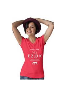Camiseta Feminina Gola V Ezok Royal Crew Vermelho