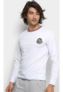 Camiseta Polo Rg 518 Gola Listrada Logo Manga Longa Masculina - Masculino-Branco