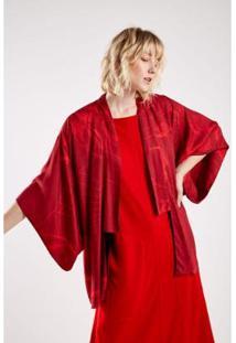 Kimono Est Floral Croqui Red Sacada - Feminino