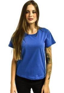 Camiseta Rich Baby Look Básica Lisa Feminina - Feminino-Azul