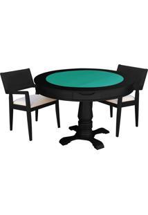 Mesa De Jogos Carteado Victoria Redonda Tampo Reversível Preto Com 2 Cadeiras Megan Linho Bege - Gran Belo