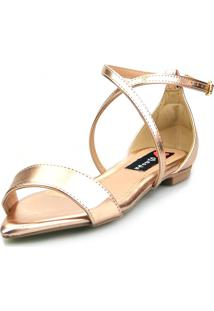 Sandalia Traseiro Love Shoes Rasteira Bico Folha Delicada Metalizada Rose - Tricae