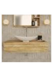 Conjunto Para Banheiro Bancada Com Cuba L45 Canoa City 800 Carvalho