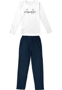Pijama Feminino Malwee 1000077271 00001-Branco/Mar