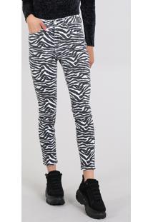 Calça De Sarja Feminina Skinny Estampada Animal Print Branca