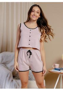 Pijama Regata Com Botões Frontal Rosê E Preto