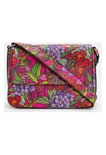 Bolsa Transversal Boxy Com Estampa Floral Colorida