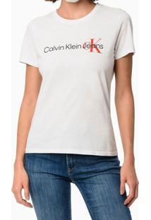 Blusa Feminina Logo Centralizado No Peito Branca Calvin Klein - P