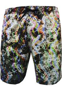 Shorts Elástico Alkary Psicodelico Multicor.