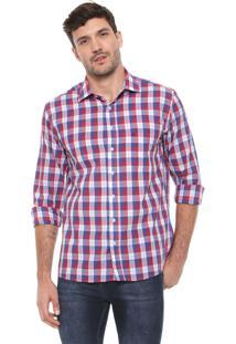 Camisa Dudalina Reta Xadrez Vermelha/Azul