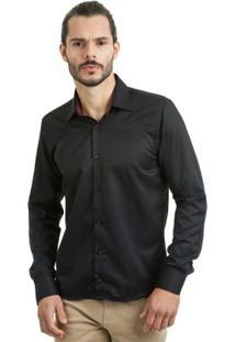 Camisa Di Sotti Slim Mista Preta - Masculino
