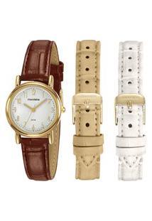 Kit Relógio Feminino Mondaine Analógico 83485Lpmkdh2 + Troca Pulseiras Dourado
