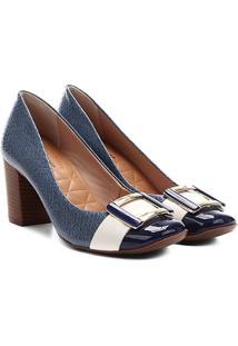 Scarpin Couro Jorge Bischoff Bico Quadrado Jeans - Feminino-Azul