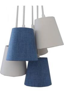 Luminária Cacho Jeans Crie Casa Azul E Bege