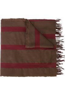 Uma Wang Echarpe Listrada Com Borlas - Red Brown