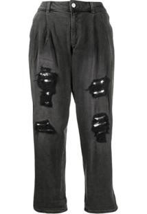 Michael Michael Kors Calça Jeans Cintura Baixa Destroyed - Preto